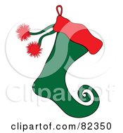 Red And Green Christmas Elf Stocking With Red Puffs