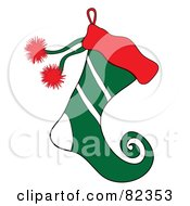 Red And Green Christmas Elf Stocking With White Stripes