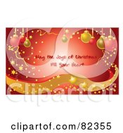 Red Glowing Christmas Greeting With Confetti Stars Sparkles Waves And Ornaments Text Reading May The Joys Of Christmas Fill Your Hear