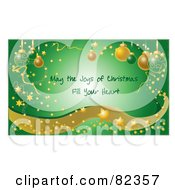 Green Glowing Christmas Greeting With Confetti Stars Sparkles Waves And Ornaments Text Reading May The Joys Of Christmas Fill Your Hear