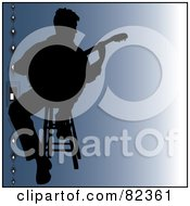 Royalty Free RF Clipart Illustration Of A Black Silhouetted Male Guitarist Sitting On A Stool Over Gradient Blue With Beads On The Left by Pams Clipart