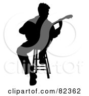 Royalty Free RF Clipart Illustration Of A Black Silhouetted Male Guitarist Sitting On A Stool