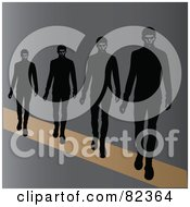 Royalty Free RF Clipart Illustration Of A Line Of Male Models Walking On A Runway by Pams Clipart