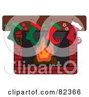Royalty Free RF Clipart Illustration Of A Row Of Curly Toed Elf Styled Christmas Stockings Hung On A Brick Fireplace
