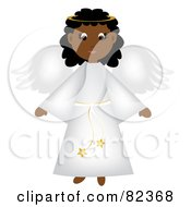 Royalty Free RF Clipart Illustration Of A Cute Black Christmas Angel In A White Robe