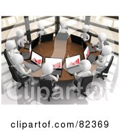 Royalty Free RF Clipart Illustration Of A Circle Of 3d White People With Bar Graphs On Their Laptops Discussing Financials In A Corporate Meeting by 3poD