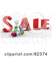 3d White Character Standing With Colorful Shopping Bags In Front Of Sale by KJ Pargeter