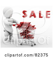 3d White Character Pushing A Shopping Cart Of Discount Deals Under Sale by KJ Pargeter