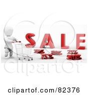 Royalty Free RF Clipart Illustration Of A 3d White Character Pushing A Shopping Cart Past Discounts In Front Of Sale