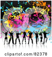 Royalty Free RF Clipart Illustration Of A Colorful Splatter Grunge Background With Silhouetted Dancers by KJ Pargeter