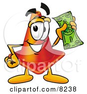 Clipart Picture Of A Traffic Cone Mascot Cartoon Character Holding A Dollar Bill by Toons4Biz