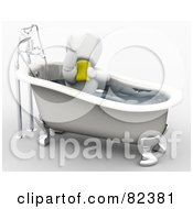 Royalty Free RF Clipart Illustration Of A 3d White Character Bathing With A Sponge In A Claw Foot Tub by KJ Pargeter
