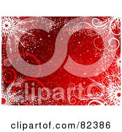 Royalty Free RF Clipart Illustration Of A Red Winter Background With Snow Swirls And Snowflakes by KJ Pargeter