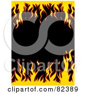 Royalty Free RF Clipart Illustration Of Top And Bottom Borders Of Flames With Black Text Space