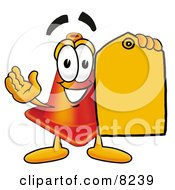 Clipart Picture Of A Traffic Cone Mascot Cartoon Character Holding A Yellow Sales Price Tag by Toons4Biz