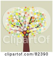 Royalty Free RF Clipart Illustration Of A Mature Tree With Colorful Blossoming Flowers