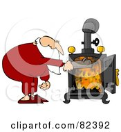 Santa In His Pjs Inserting A Log Into His Wood Stove