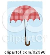 Royalty Free RF Clipart Illustration Of A Wooden Handled Pink Umbrella Over Blue