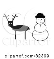 Digital Collage Of A Reindeer And Smoking Snowman
