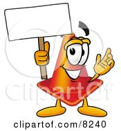 Clipart Picture Of A Traffic Cone Mascot Cartoon Character Holding A Blank Sign by Toons4Biz