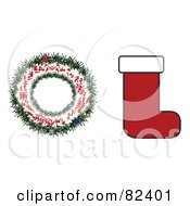 Digital Collage Of A Wreath And Christmas Stocking