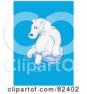 Royalty Free RF Clipart Illustration Of A Sad Cartoon Polar Bear Sitting On A Small Melting Sheet Of Ice In Blue Water
