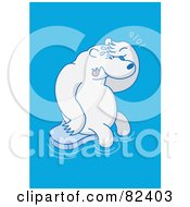 Sad Cartoon Polar Bear Crying On A Small Sheet Of Ice In Blue Water