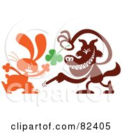 Cartoon Wolf Taking A Four Leaf Clover From A Bunny