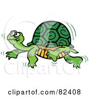 Royalty Free RF Clipart Illustration Of A Cartoon Turtle Walking Slowly By