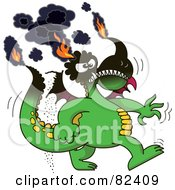 Royalty Free RF Clipart Illustration Of A Cartoon Burning Green Dragon With His Tips On Fire
