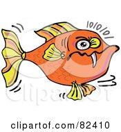 Cartoon Angry Orange Fish With One Sharp Tooth