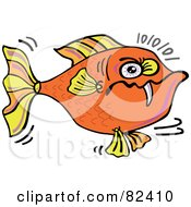 Royalty Free RF Clipart Illustration Of A Cartoon Angry Orange Fish With One Sharp Tooth