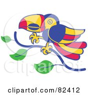 Cartoon Toucan Bird Walking On A Tree Branch