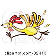 Royalty Free RF Clipart Illustration Of A Cartoon Chicken Running And Losing Feathers