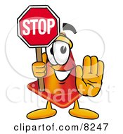 Clipart Picture Of A Traffic Cone Mascot Cartoon Character Holding A Stop Sign