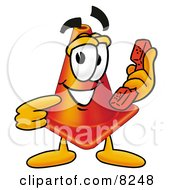 Clipart Picture Of A Traffic Cone Mascot Cartoon Character Holding A Telephone