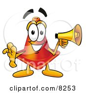 Clipart Picture Of A Traffic Cone Mascot Cartoon Character Holding A Megaphone by Toons4Biz