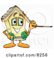 Clipart Picture Of A House Mascot Cartoon Character Holding A Pointer Stick