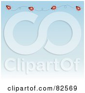 Royalty Free RF Clipart Illustration Of A Top Ladybug Border On A Gradient Blue Background by Pams Clipart