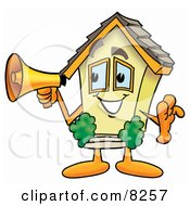 Clipart Picture Of A House Mascot Cartoon Character Holding A Megaphone