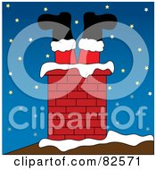 Royalty Free RF Clipart Illustration Of Santa S Stuck Legs Sticking Out Of A Brick Chimney On A Snowy Night