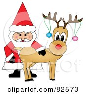 Royalty Free RF Clipart Illustration Of Santa Standing And Petting Rudolph Baubles On His Antlers