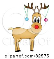 Royalty Free RF Clipart Illustration Of Rudolph The Reindeer With Two Baubles Hanging From His Antlers