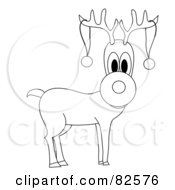 Royalty Free RF Clipart Illustration Of A Black And White Outline Of Rudolph The Reindeer With Two Baubles On His Antlers by Pams Clipart