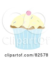 Royalty Free RF Clipart Illustration Of A Cherry On Top Of A Cupcake With Vanilla Frosting And Sprinkles by Pams Clipart