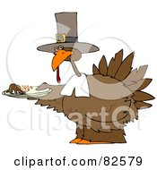 Royalty Free RF Clipart Illustration Of A Pilgrim Turkey Holding A Plate Of Mashed Potatoes