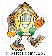 House Mascot Cartoon Character Hiking and Carrying a Backpack