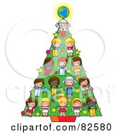Royalty Free RF Clipart Illustration Of Cultural Children And A Globe Decrating A Christmas Tree