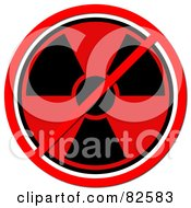Royalty Free RF Clipart Illustration Of A Red And Black Radiation Symbol With A Prohibition Cross