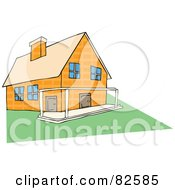 Royalty Free RF Clipart Illustration Of A Yellow Stone House With A Patio And Green Lawn